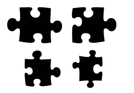 silhouetted: Black silhouetted jigsaw pieces, isolated over white background.