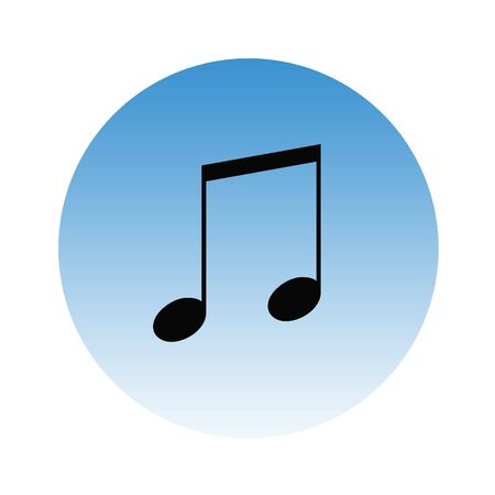 Musical notes on graduated, blue gradient button, isolated on white background. photo