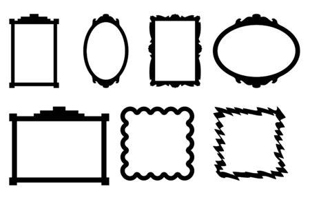 marcos decorados: Conjunto de siete fronteras de marco de foto, aislado sobre fondo negro. Foto de archivo