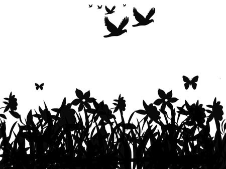 migrating animal: Silhouette of butterflies and flock of birds flying over field of flowers. Stock Photo