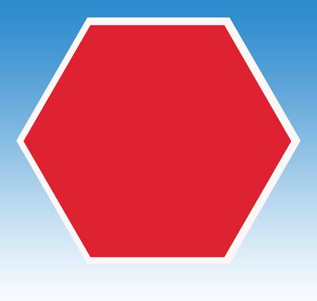 instructs: Blank hexagonal red road traffic warning sign, isolated on blue sky background.