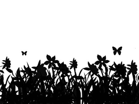 Silhouette of butterflies flying over field of flowers. photo