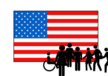 People silhoueted on stars and stripes American flag, isolated on white background. photo