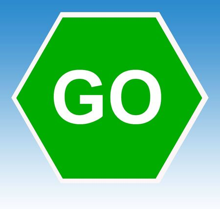 instructs: Hexagonal green go sign with blue sky background.