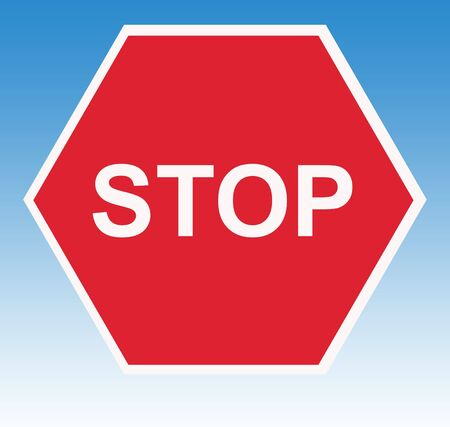 instructs: Red stop road traffic sign, isolated on white background.