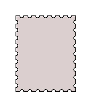 franked: Blank postage stamp with copy space in center, isolated on white background.