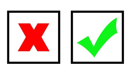marked boxes: Green tick and red cross marks in two boxes, isolated over white background. Stock Photo