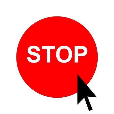 Red stop button and black cursor, isolated on white background. Stock Photo - 5180020