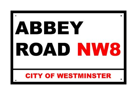 city of westminster: Abbey Road sign isolated over white background, London, England.