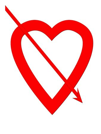 lovelorn: Red love hear pierced with arrow, isolated on white background with copy space.