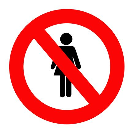 discriminating: No women sign, isolated over white background.