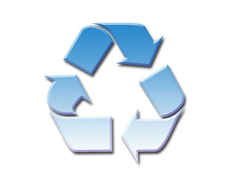 backkground: Clear blue sky filling recycling symbol, isolated on white background. Stock Photo