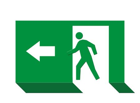 escape route: Person on green exit sign, isolated on white background.
