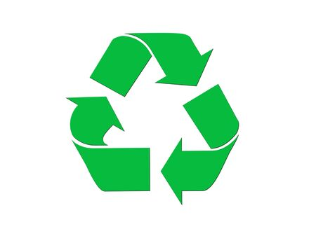 backkground: Green recycling symbol isolated on white background.