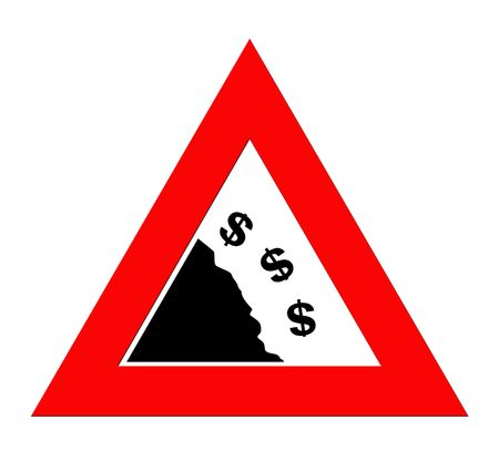 roadsign: Dollar currency symbols falling off cliff in warning roadsign triangle, isolated on white background. Stock Photo