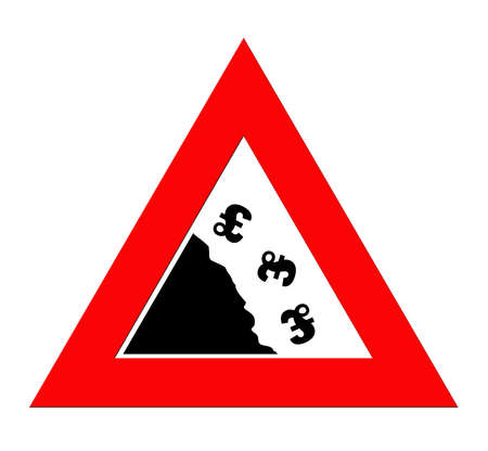 fiscal cliff: British pound currency signs falling off cliff in warning roadsign triangle, isolated on white background.