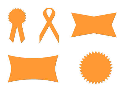 Set of five blank ribbons and banners isolated on white background. photo