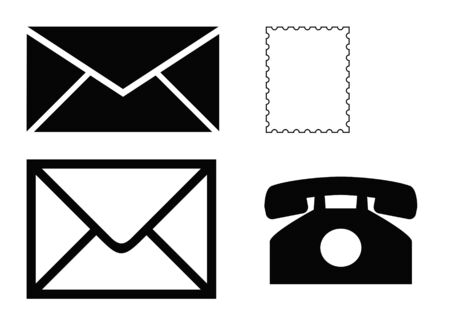 franked: Black silhouettes of office communication equipment, envelopes, telephone and stamp, isolated on white background.