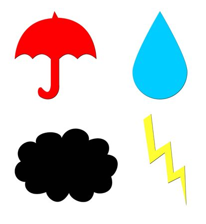 inclement: Four symbols of bad weather isolated on white. Umbrella, storm cloud, lightning, and rain. Stock Photo