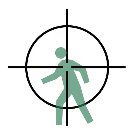 Sniper rifle cross hairs over moving person, isolated on white background.