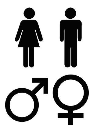 man vrouw symbool: Mannelijke en vrouwelijke geslacht symbolen in zwart silhouet, geïsoleerd op een witte achtergrond.