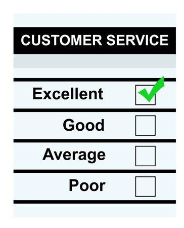 questionaire: Atenci�n al cliente cuestionario con una cruz verde en excelente cuadro, aisladas sobre fondo blanco.