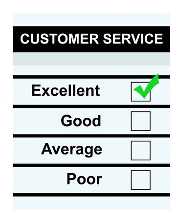 informative: Customer service questionaire with green tick in excellent box, isolated on white background.