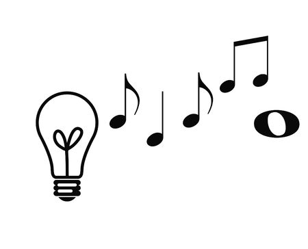 silhoutted: Conceptual view of musical notes rising from lightbulb depicting musical composition ideas. Stock Photo