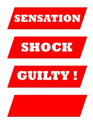 sensational: Sensational tabloid newspaper banner headlineS isolated on white with copy space.