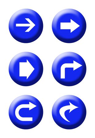 Set of six blue directional traffic buttons isolated on white background. Stock Photo - 5317111