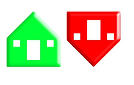volatile: Red and green arrow buttons in shape of houses rising and falling in value, white background.