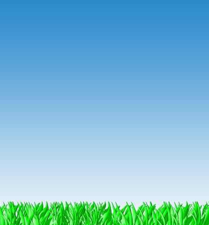 Green grass and blue sky background landscape with copy space. Stock Photo - 5317047
