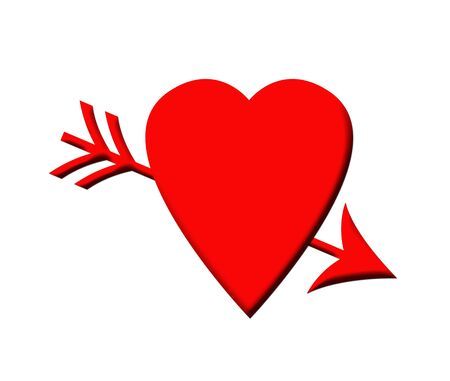 pierced: Red love heart pierced by cupids arrow, isolated on white background.