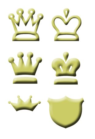 Gold king and queen regal crown icons isolated on white background. photo