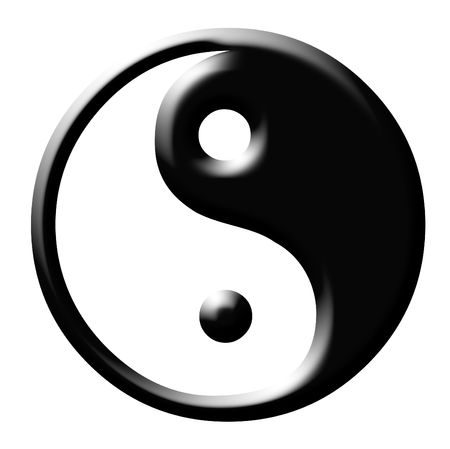 interconnected: Yin and Yang symbol isolayed on white background.