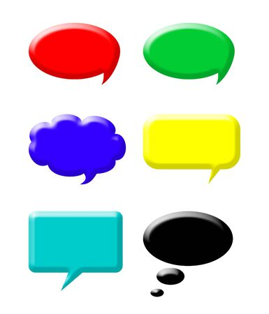 Set of colorful speech bubbles isolated on white background. Stock Photo - 5351093