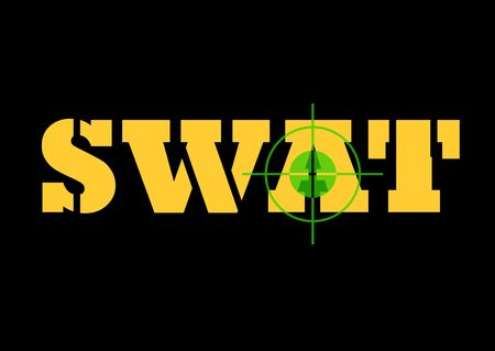 Telescopic night sign over top of S.W.A.T sign, isolated on black background. photo