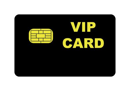 privilege: Black VIP card with biometric strip, isolated on white background.