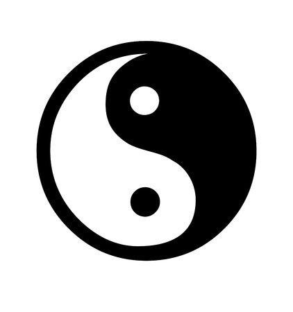taijitu: Yin and Yang symbol isolated on white background. Stock Photo