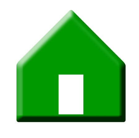 house prices: Green pointing button representing rising house prices, isolated on white background.