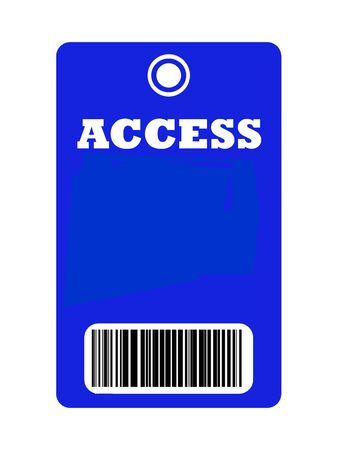 select all: Access all areas blue pass with bar code, isolated on white background.