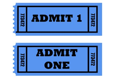 admittance: Illustration of two cinema or movie tickets saying admit one, isolated on white background.