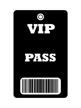 entry admission: Black VIP backstage pass with bar code, isolated on white background. Stock Photo