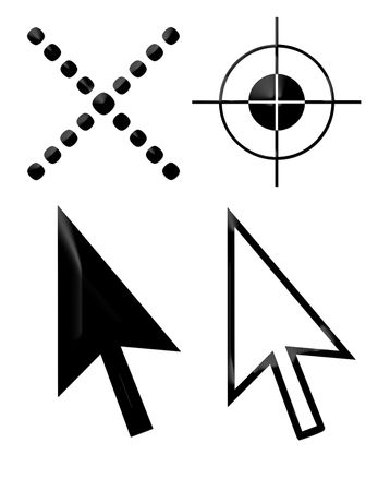 x marks the spot: Pointing cursor arrows, cross and black target icons isolated on white background.