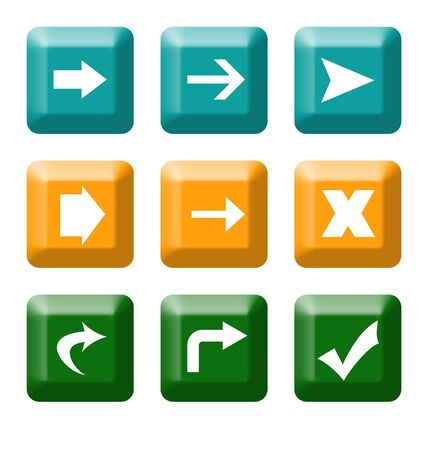Colorful directional button icons with tick and check mark isolated on white background. Stock Photo - 5375682
