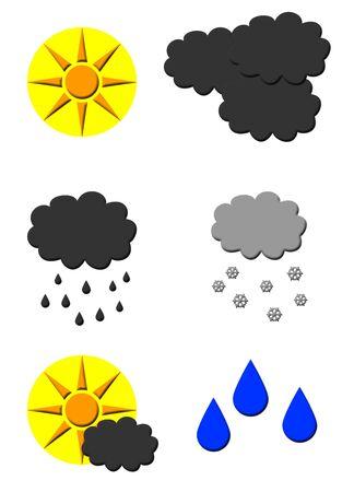 inclement: Set of weather forecast symbols isolated on white background. Stock Photo
