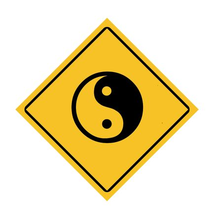 taoist: Yellow diamond yin and yang road sign, isolated on white background.