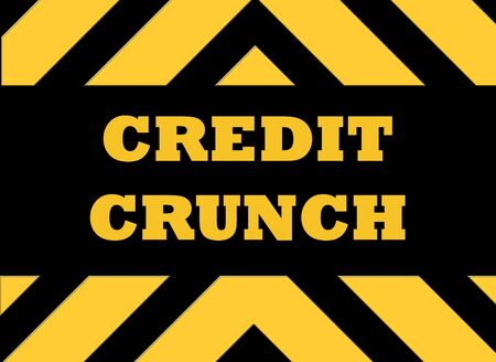 repossessed: Credit crunch hazard sign in yellow and black.