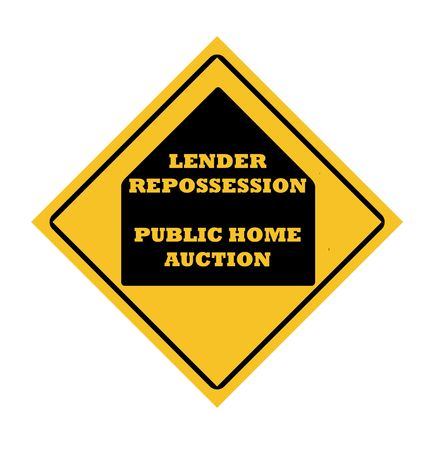 Lender repossession public home acuction road sign, isolated on white background.