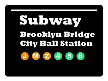 subway station: Brookly Bridge City Hall Station subway train sign isolated on black background.